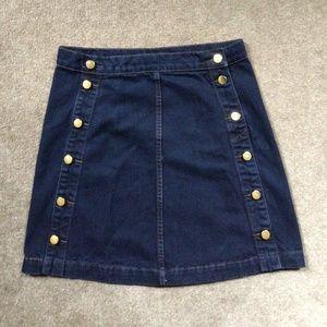 J Brand A line navy denim skirt  brass buttons